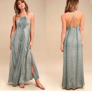 NWT O'Neill LENORE SAGE GREEN PRINT MAXI DRESS